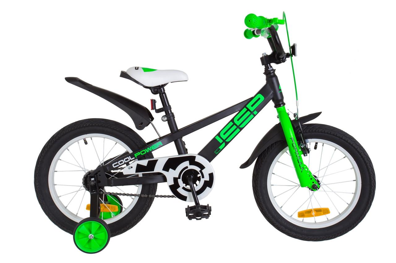 """Велосипед 16"""" Formula JEEP 14G St с крылом Pl 2018 (черно-салатный (м))"""