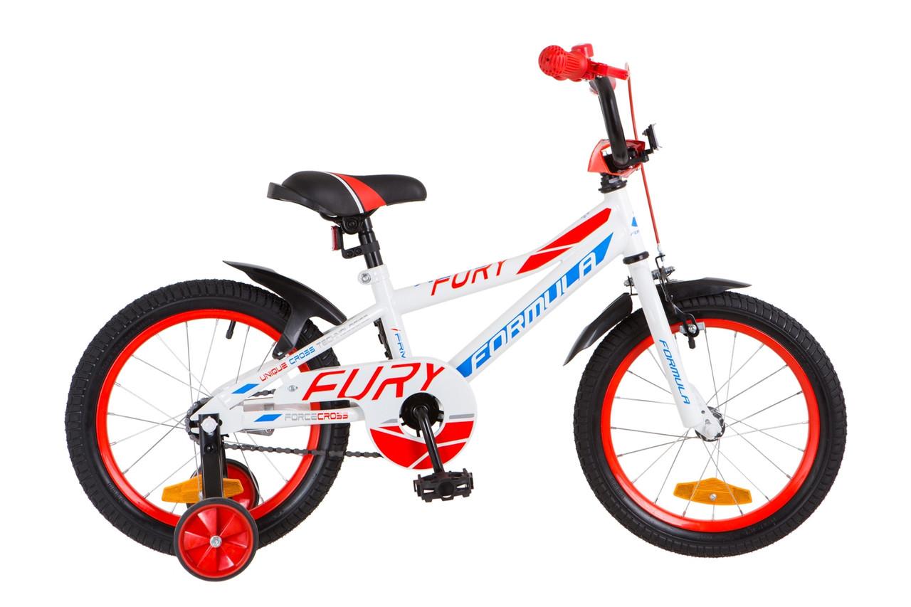 """Детский велосипед 16"""" Formula FURY 2018 (бело-синий с оранжевым)"""