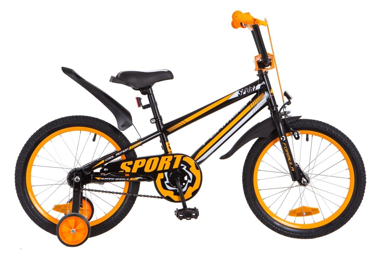 """Детский велосипед  18"""" Formula SPORT 2018 (черно-оранжевый)"""
