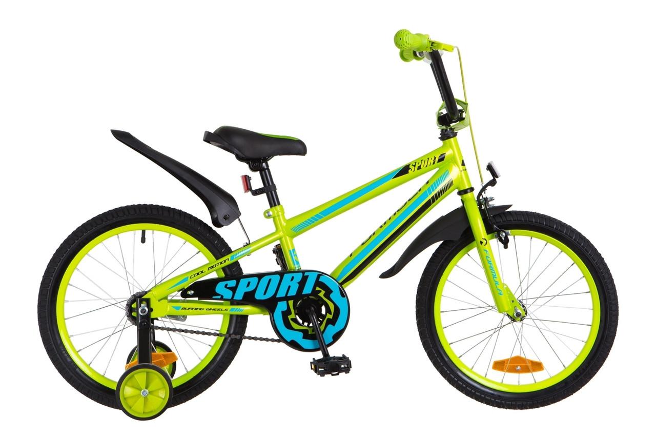 """Детский велосипед 18"""" Formula SPORT 2018 (салатно-синий)"""