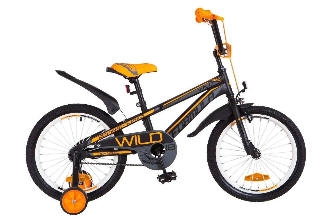 """Детский велосипед 18"""" Formula WILD 2018 (черно-оранжевый (м))"""