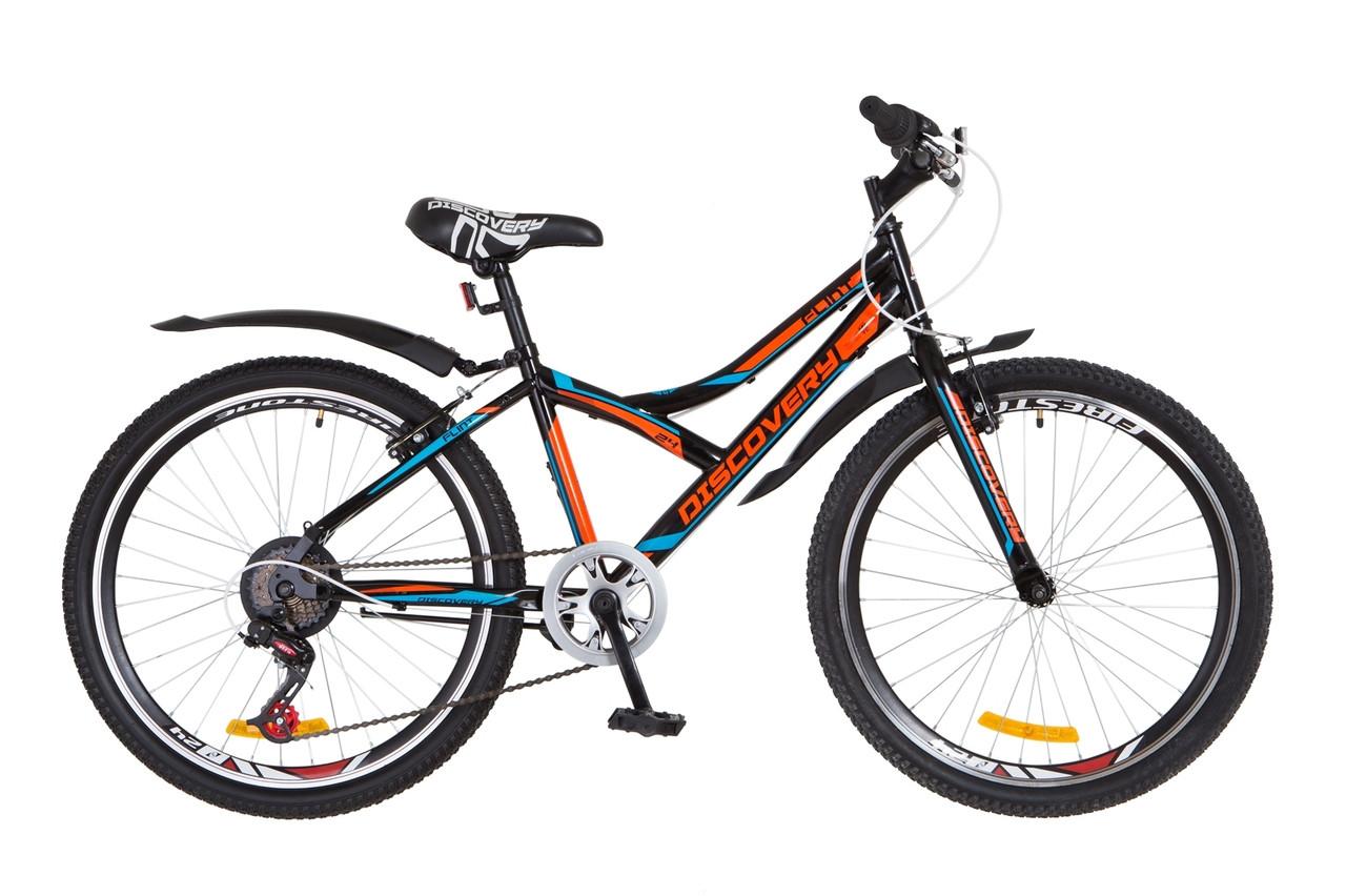 """Горный велосипед 24"""" Discovery FLINT 2018 (черно-оранжево-синий)"""