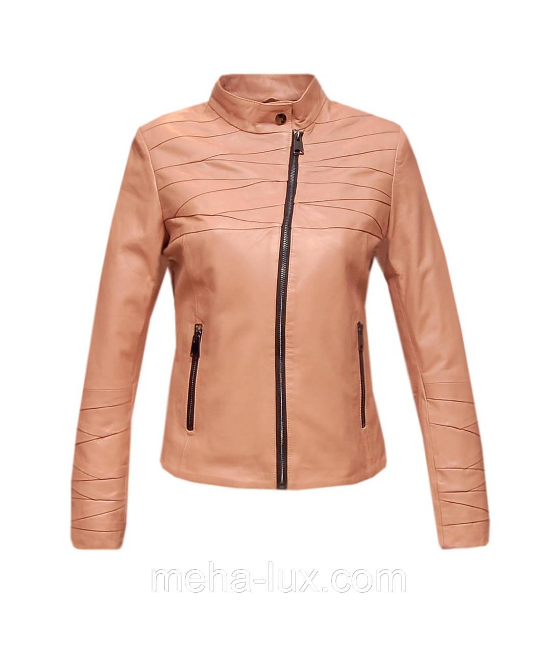 Куртка косуха женская кожаная Leonardo короткая розовая