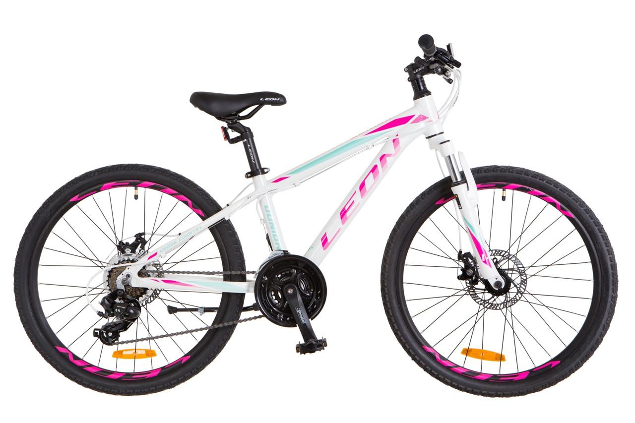 """Горный велосипед 24"""" LEON JUNIOR AM DD 2018 (бело-малиновый с бирюзовым)"""