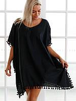 Черная пляжная туника кимоно, фото 1