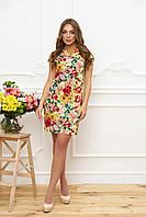 """Короткое летнее платье прямое с вырезом на горловине цветочный принт """"Вояж"""" к/р желтое (цветы 13)"""