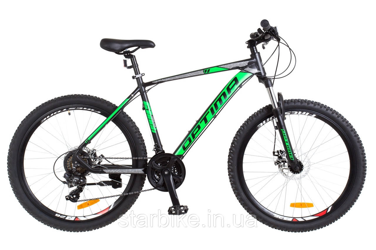 "Горный велосипед 26"" Optimabikes F-1 DD 2018 (черно-зеленый (м))"