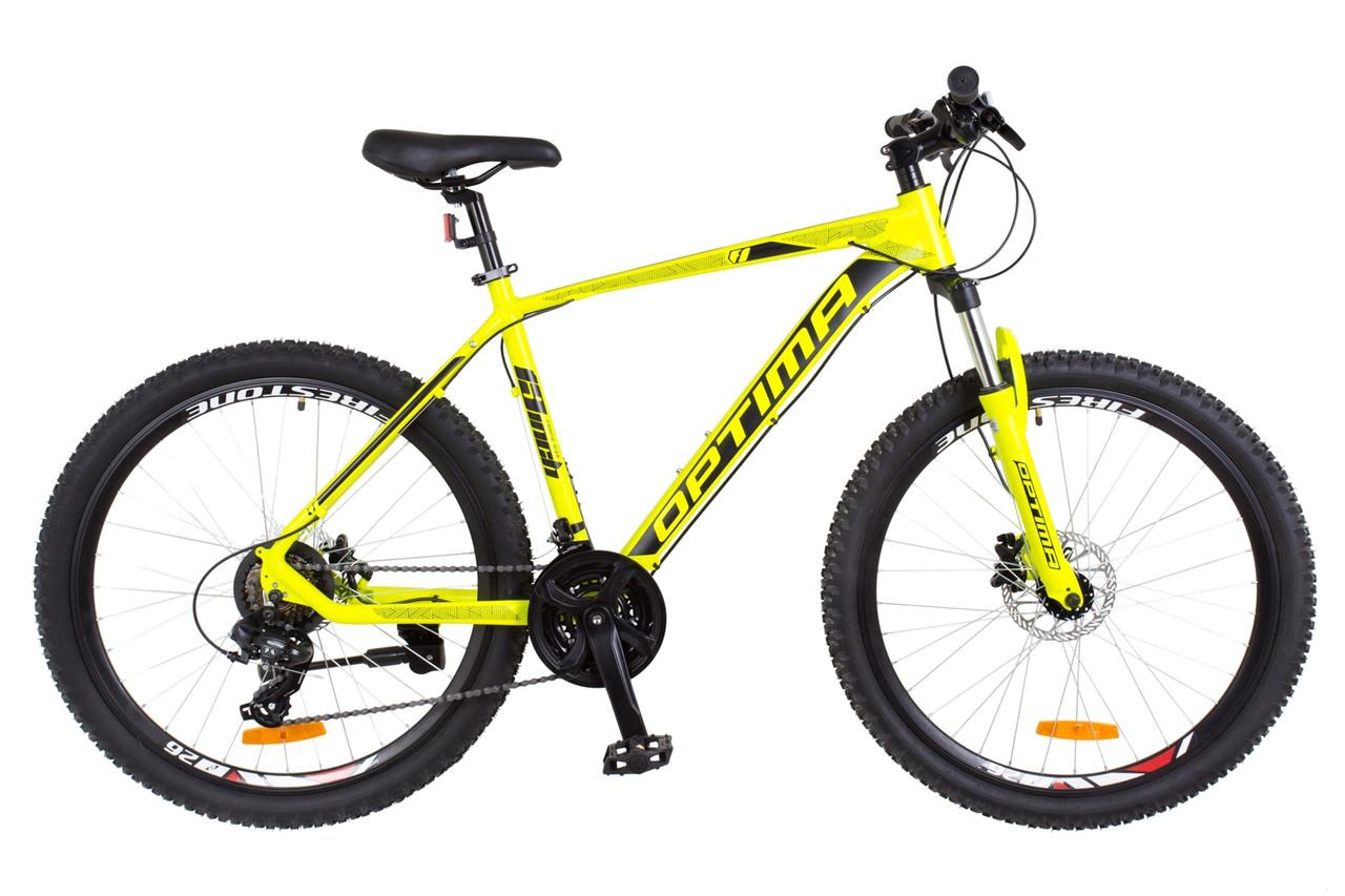 """Горный велосипед  26"""" Optimabikes F-1 HDD 2018 (желтый неон (м))"""