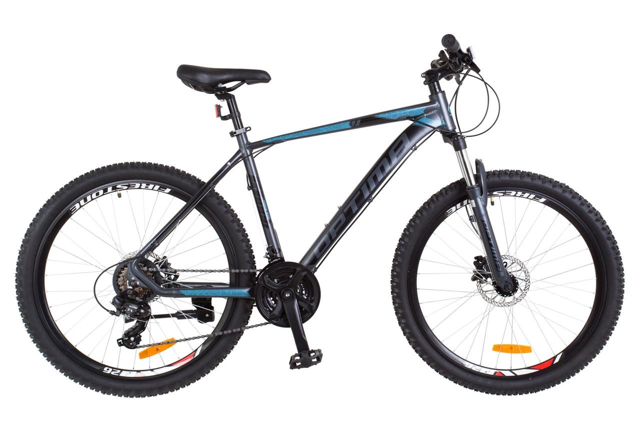 """Горный велосипед 26"""" Optimabikes F-1 HDD 2018 (черно-синий (м))"""
