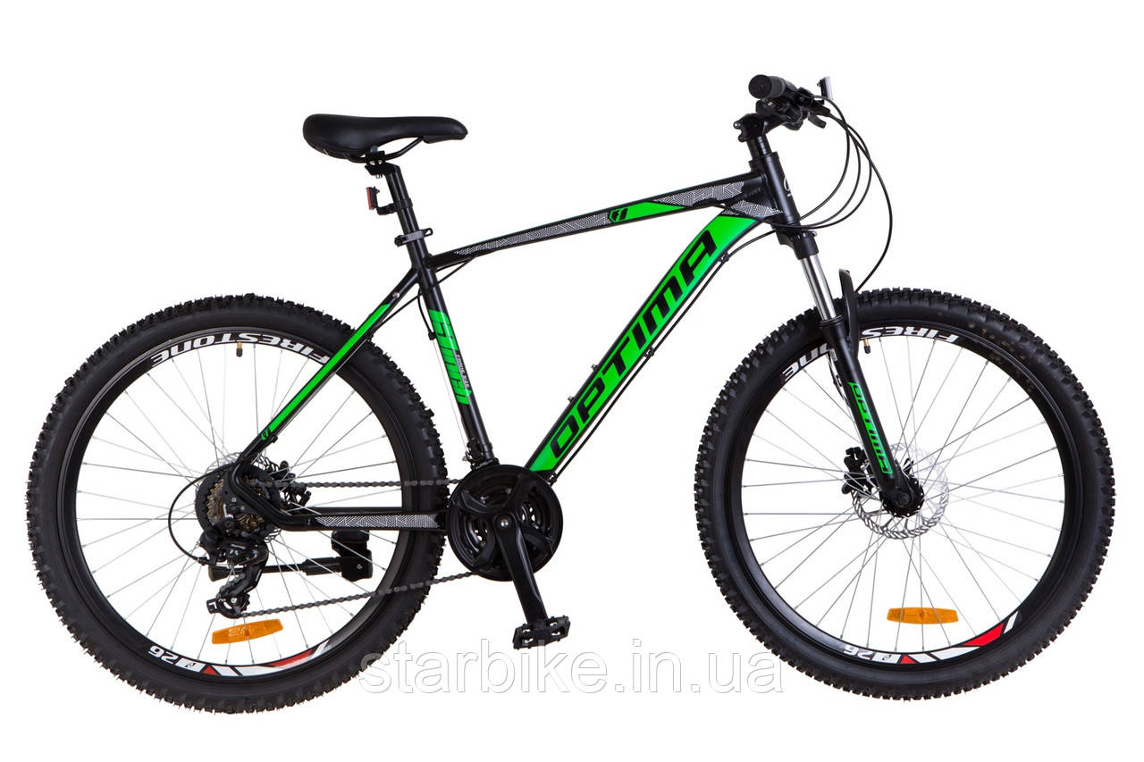 """Горный велосипед 26"""" Optimabikes F-1 HDD 2018 (черно-зеленый (м))"""
