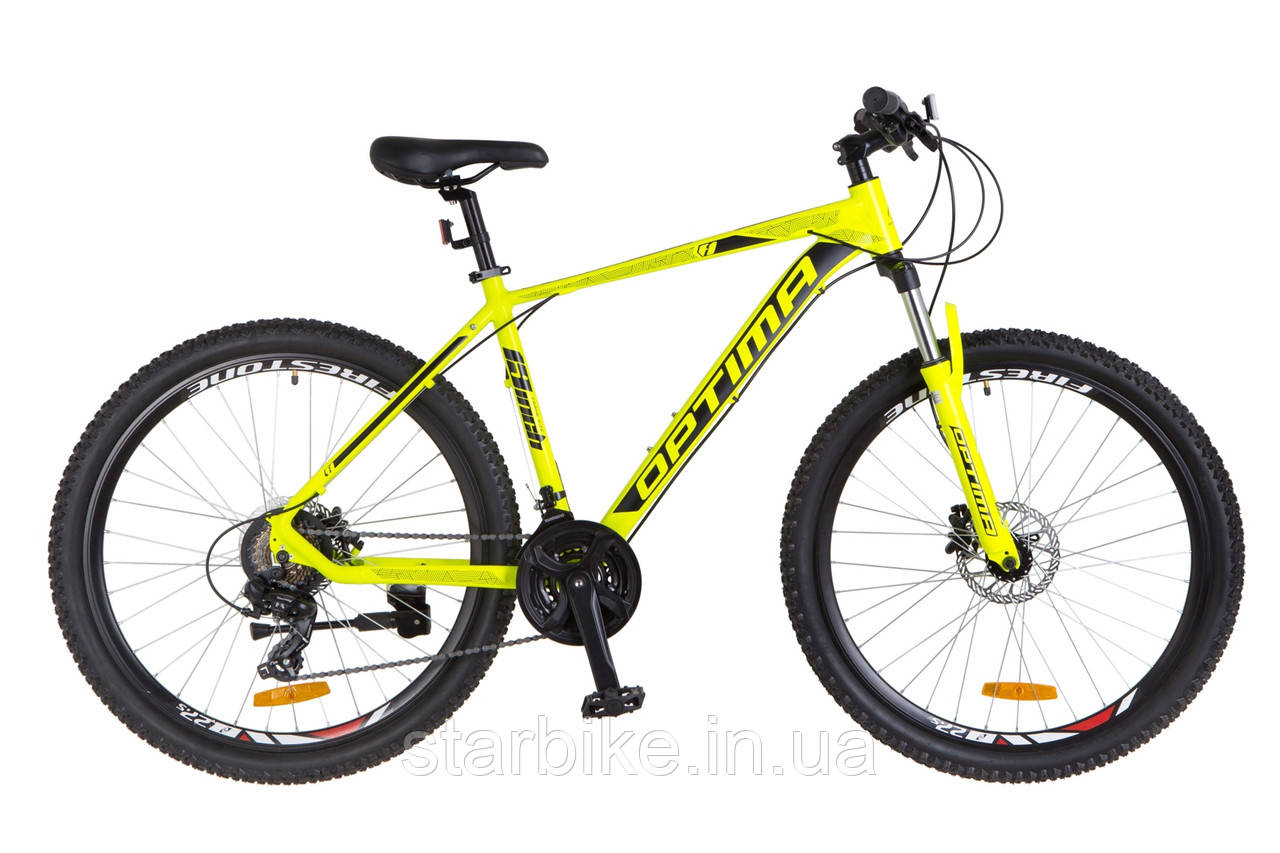 "Горный велосипед 27.5"" Optimabikes F-1 HDD 2018 (желтый неон (м))"