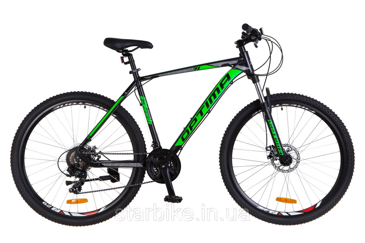 "Горный велосипед 29"" Optimabikes F-1 DD 2018 (черно-зеленый (м))"