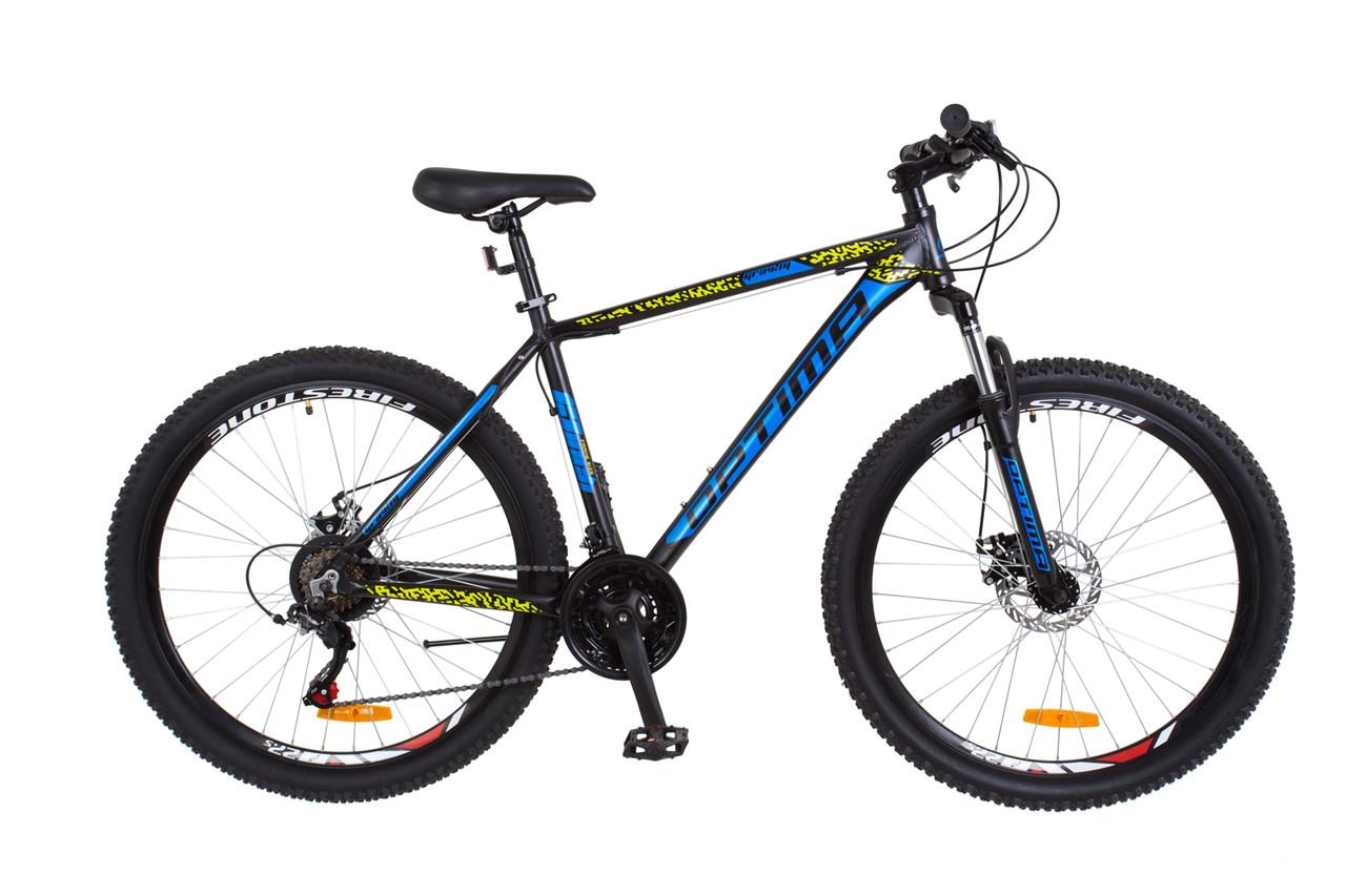"""Горный велосипед 27.5"""" Optimabikes GRAVITY 2018 (черно-синий с желтым (м))"""