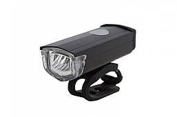 Фонарь LED передний AL121W, USB (черный корпус)