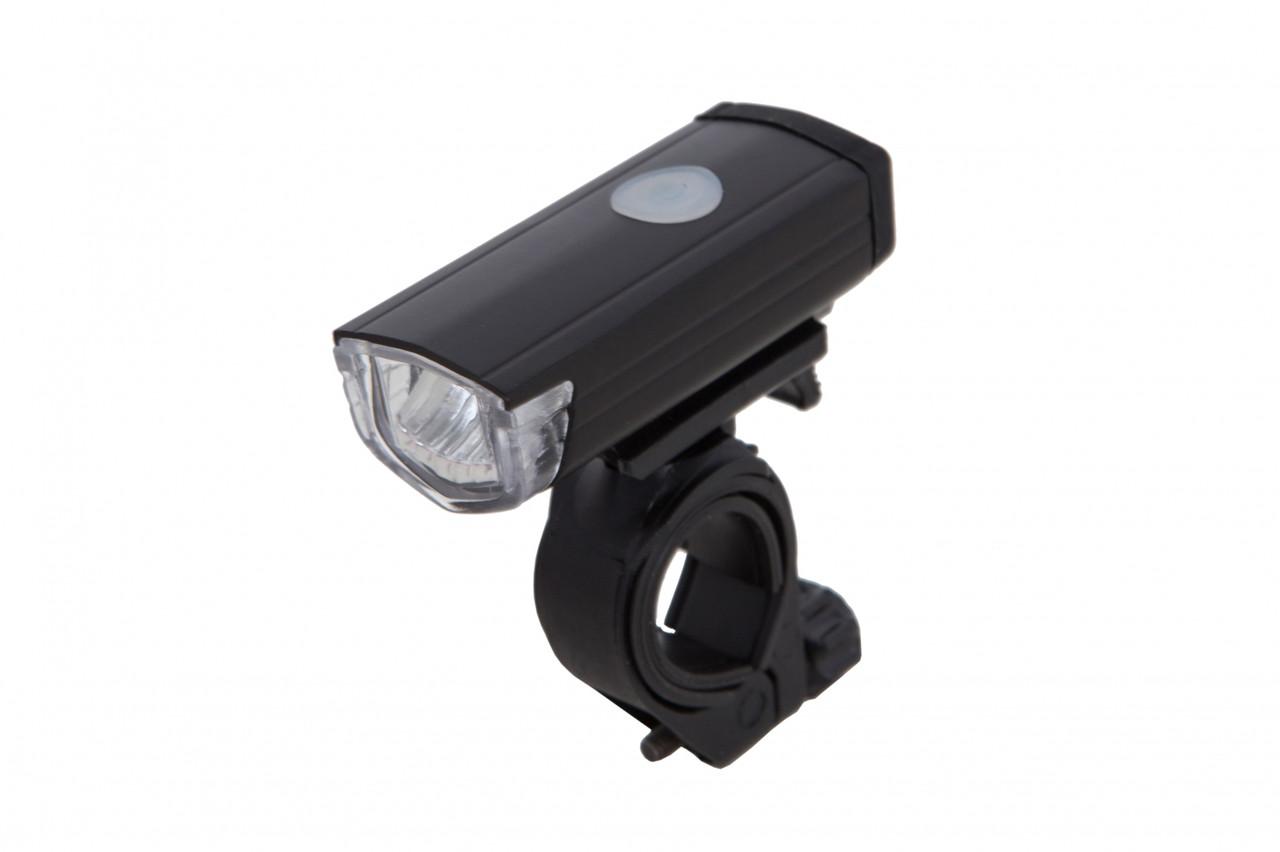 Фонарь LED передний AL122W, USB (черный корпус)