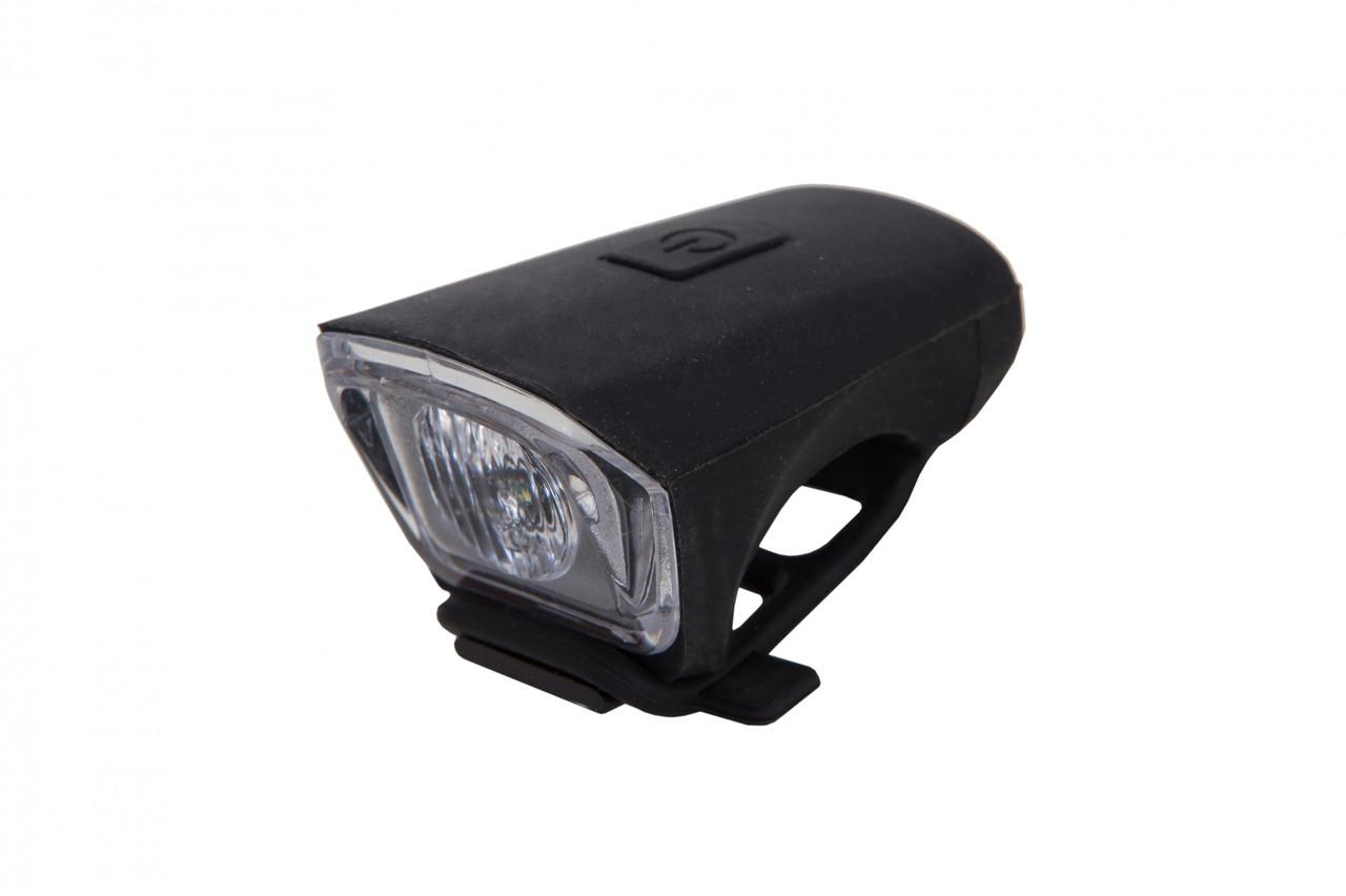 Фонарь LED передний FT119W, USB (черный корпус)