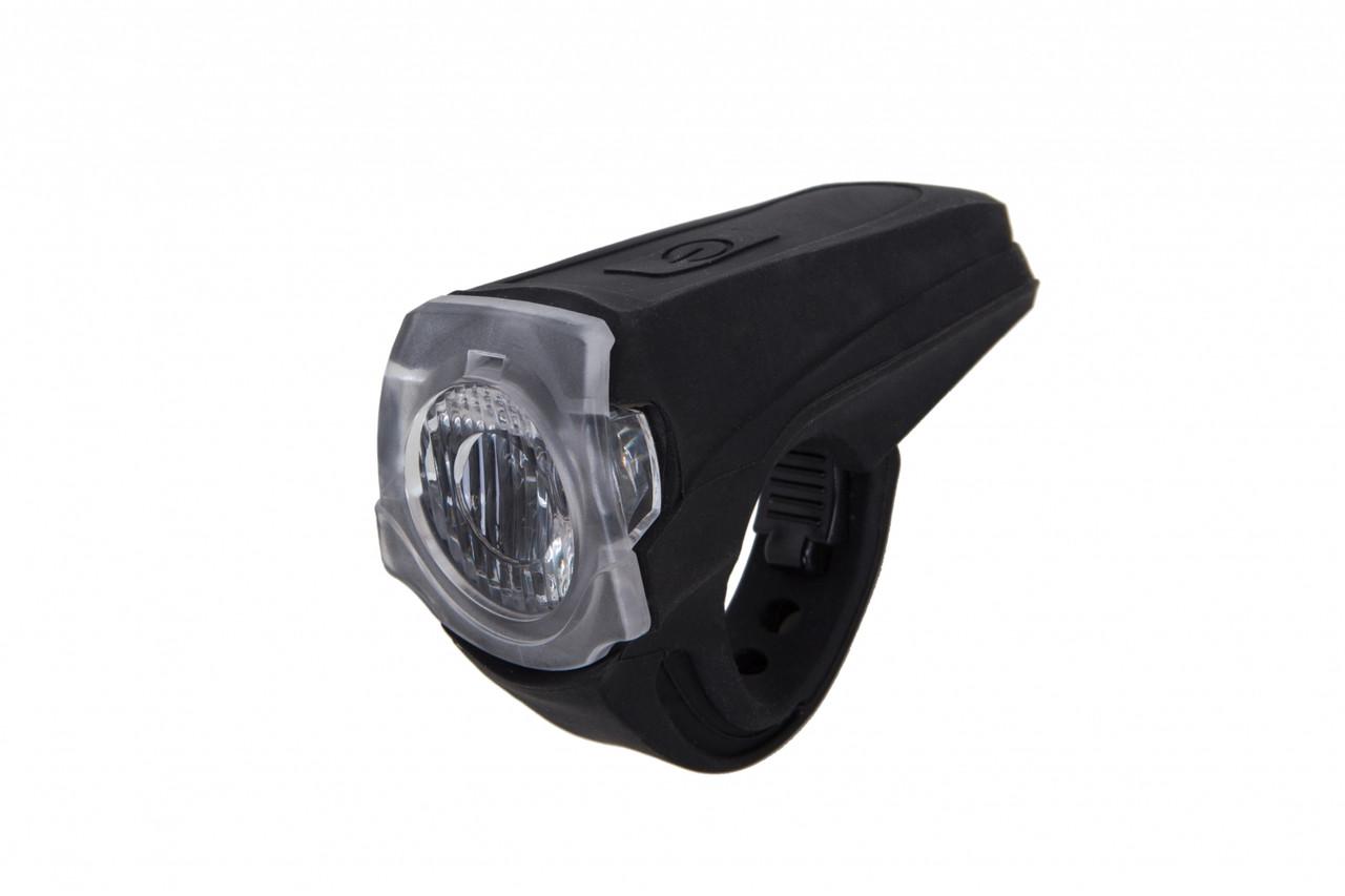 Фонарь LED передний FT118W, USB (черный корпус)