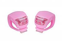 Силиконовые мигалки FT201D для велосипеда. (розовый корпус)
