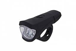 Фонарь LED передний FT116W, USB (черный корпус)