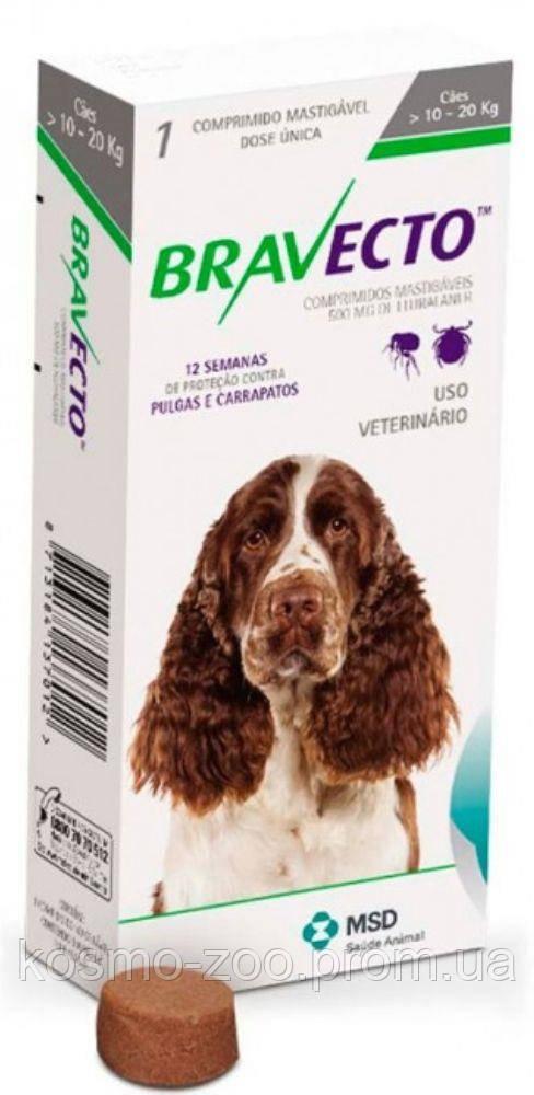 Бравекто (Bravecto) Жевательная таблетка для защиты от блох и клещей для собак весом 10-20 кг