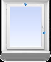 Окно с фромугой (форточкой) 800\1300мм VEKA WHS HALO 60