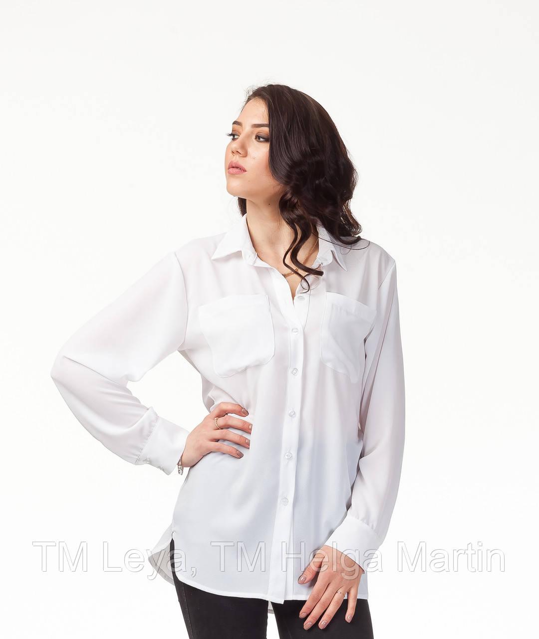 b1d8a18a35c Стильная женская белая рубашка. К090 - ТМ Leya