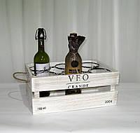 Деревянная подставка для вина. Ящик на 6 бутылок бело-коричневый, фото 1