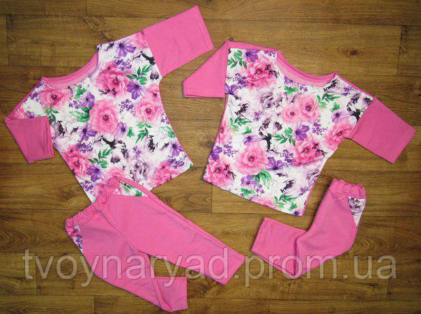 Костюм летний для девочки розовый Цветы  продажа dea4340d5bcc9