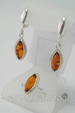 Комплект серебряных украшений с янтарем - кольцо и серьги, фото 2