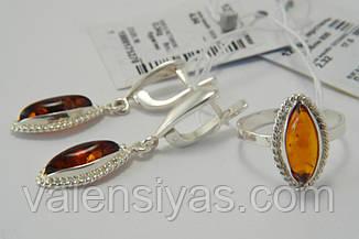 Комплект серебряных украшений с янтарем - кольцо и серьги, фото 3