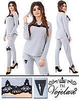 Женский серый спортивный костюм большого размера пр-во Украина 1018G