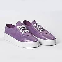 Спортивные туфли на шнурках сиреневые, фото 1