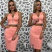 Костюм модный трикотажный топ на молнии и юбка-карандаш разные цвета Kv883, фото 1