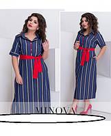 Стильное джинсовое платье  (в расцветках) Размеры: 50, 52, 54, 56, 58, 60, 62, 64 Модное жеснкое платье рубаше