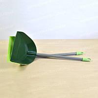 Совок пластиковый для уборки мусора с металлической ручкой 16x14x60 см Магия-Пласт DS DS 0056