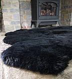 Килим з овчини чорного кольору з 4-х новозеландських овечих шкур, фото 4