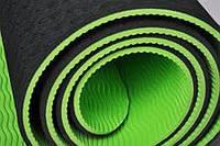Премиум ЭКО коврик для йоги и фитнеса (йога мат) TPE+TC 183х61см, 6мм