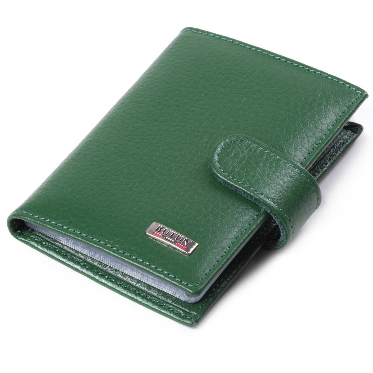 Визитница кредитница кожаная зеленая Butun 152-004-075