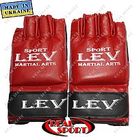 Перчатки для рукопашного боя Лев «К-1» (комби), красные