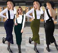 Женская юбка миди карандаш с бретелями с 42 по 50р, фото 1