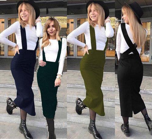 Женская юбка миди карандаш с бретелями с 42 по 50р
