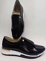 e473f5198 Индивидуальный пошив.Женские спортивные туфли-слипоны из натуральной  лаковой кожи черного цвета