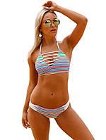 Полосатый разноцветный женский купальник, фото 1