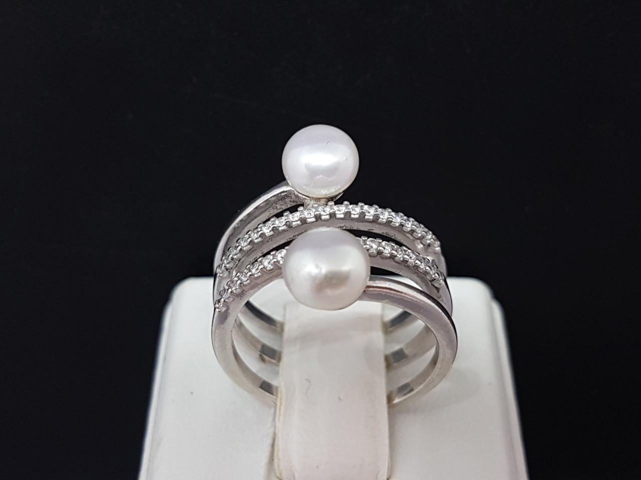 Срібне кільце Інферно з перлами і фіанітами. Артикул 1375/1Р-PWT 16,5 17