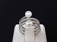 Срібне кільце Інферно з перлами і фіанітами. Артикул 1375/1Р-PWT 16,5 17, фото 1