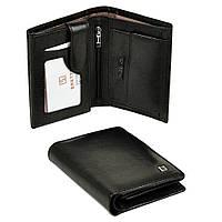 Вертикальный мужской кошелек Bretton из натуральной кожи. Кожаное портмоне черный цвет.