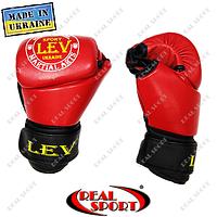 Перчатки для рукопашного боя Free Fight кожаные, красные. Размеры М, L