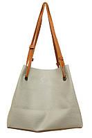 Женская большая двухцветная сумка P156 (серо-красная)