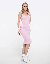Миниплатье с декольте летнее на лентах