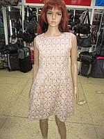 Женское дизайнерское платье  цвета тауп с красивой спинкой р 44